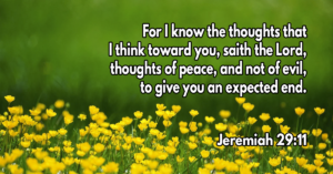For I know the thoughts that I think toward you, saith the Lord, thoughts of peace, and not of evil, to give you an expected end